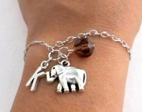 Elephant Bracelet- Birthstone And Initial Elephant Jewelry Elephant