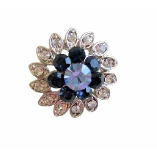 Montana & Lite Sapphire Crystal Simulated Diamond Silver Plated Brooch