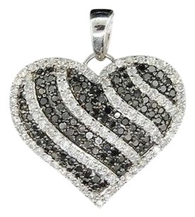 Ladies,10k,White,Gold,Heart,Love,Black,White,Diamond,Pendant,Charm,For,Necklace
