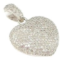 Ladies,14k,White,Gold,1,Ct,Diamond,Heart,Shape,Domed,Pendant,Charm,For,Necklace