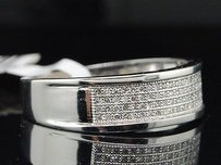 Mens 10k White Gold .25 Ct Pave Diamond Wedding Band