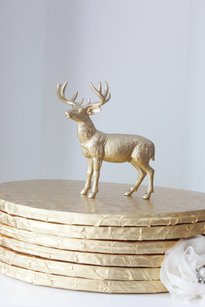 1 Gold Deer Golden Deer Cake Topper Figurine Whimsical Woodsy Wedding Buck