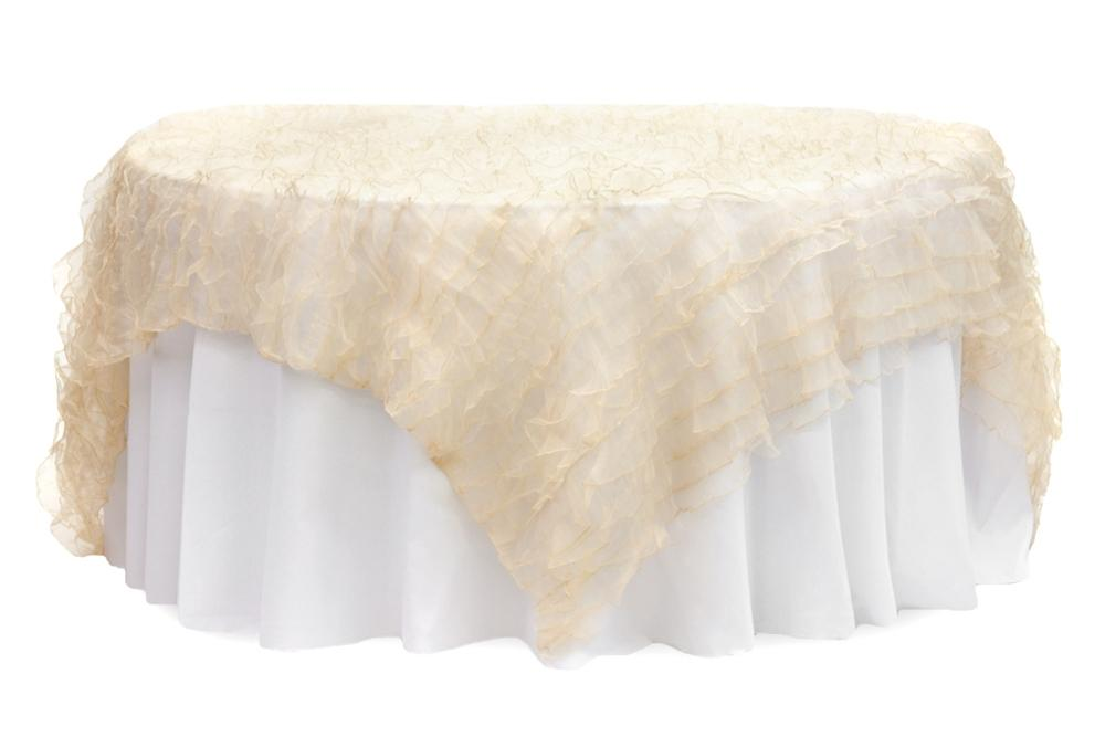 ... 10 Ivory Ruffled Organza Overlays 10 Pewter Tablecloths And 100 Silver  Napkins Wedding Event Brunch Decor ...