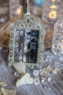10 Mini Jeweled Photo Frames Table Number Frames Bling Rhinestones Silver Crystal Decor
