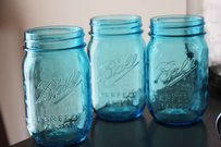 100 Aqua Blue Ball Mason Jars Pint Vases Glasses