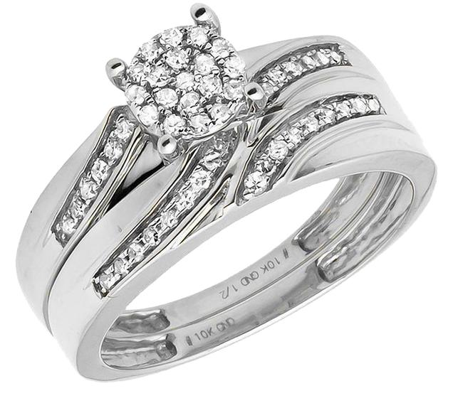 10k White Gold MenLadies Flower Swirl Diamond Wedding Band Trio Set