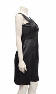 110 West Black Satin Pleat Dress