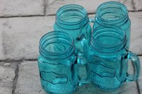 12 Aqua Blue Mason Jar Mugs Glasses Tumblers Pint Size