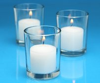 144 Glass Clear Candle Votive Holders And 144 White Candles Votives