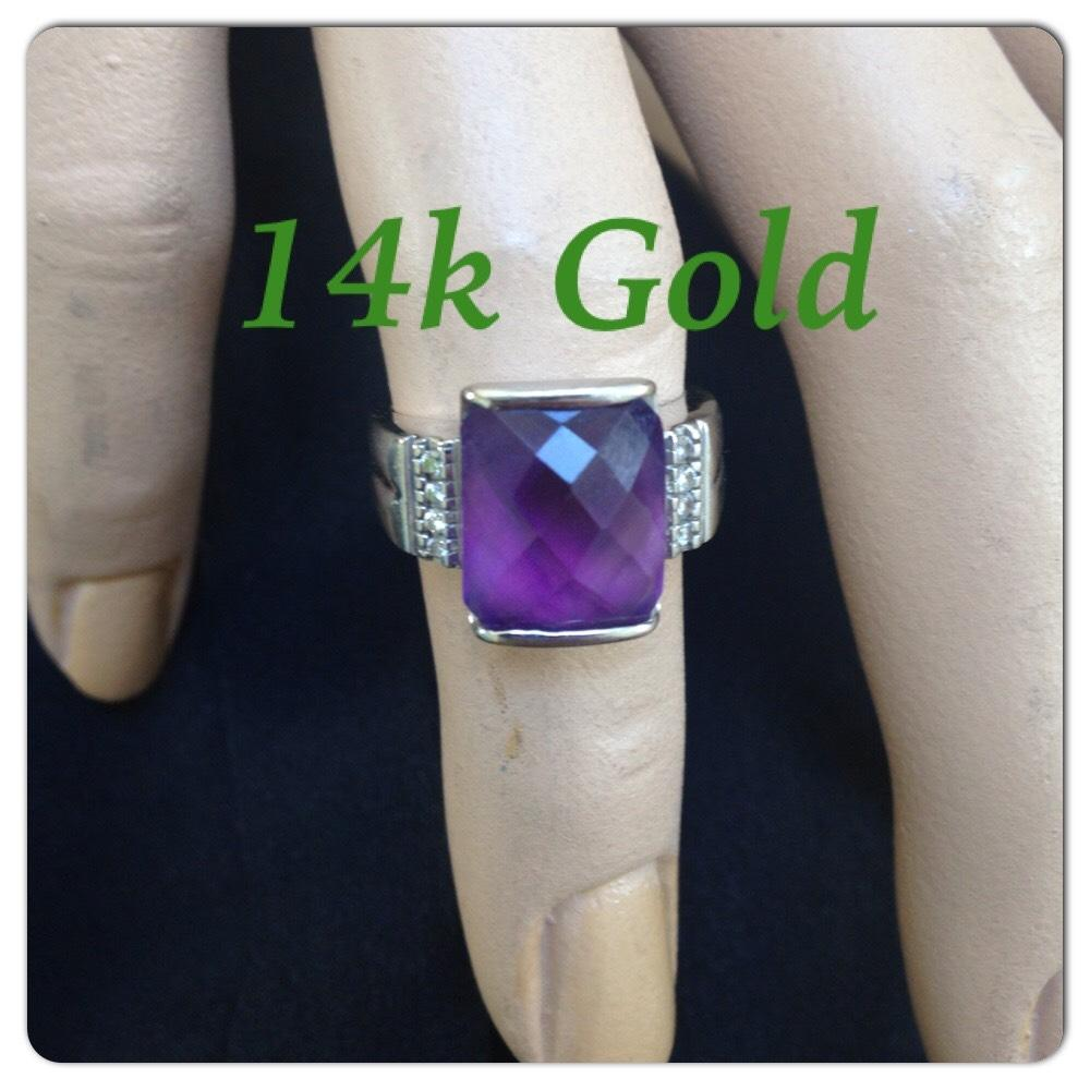 14k real gold and diamond and purple stone ring