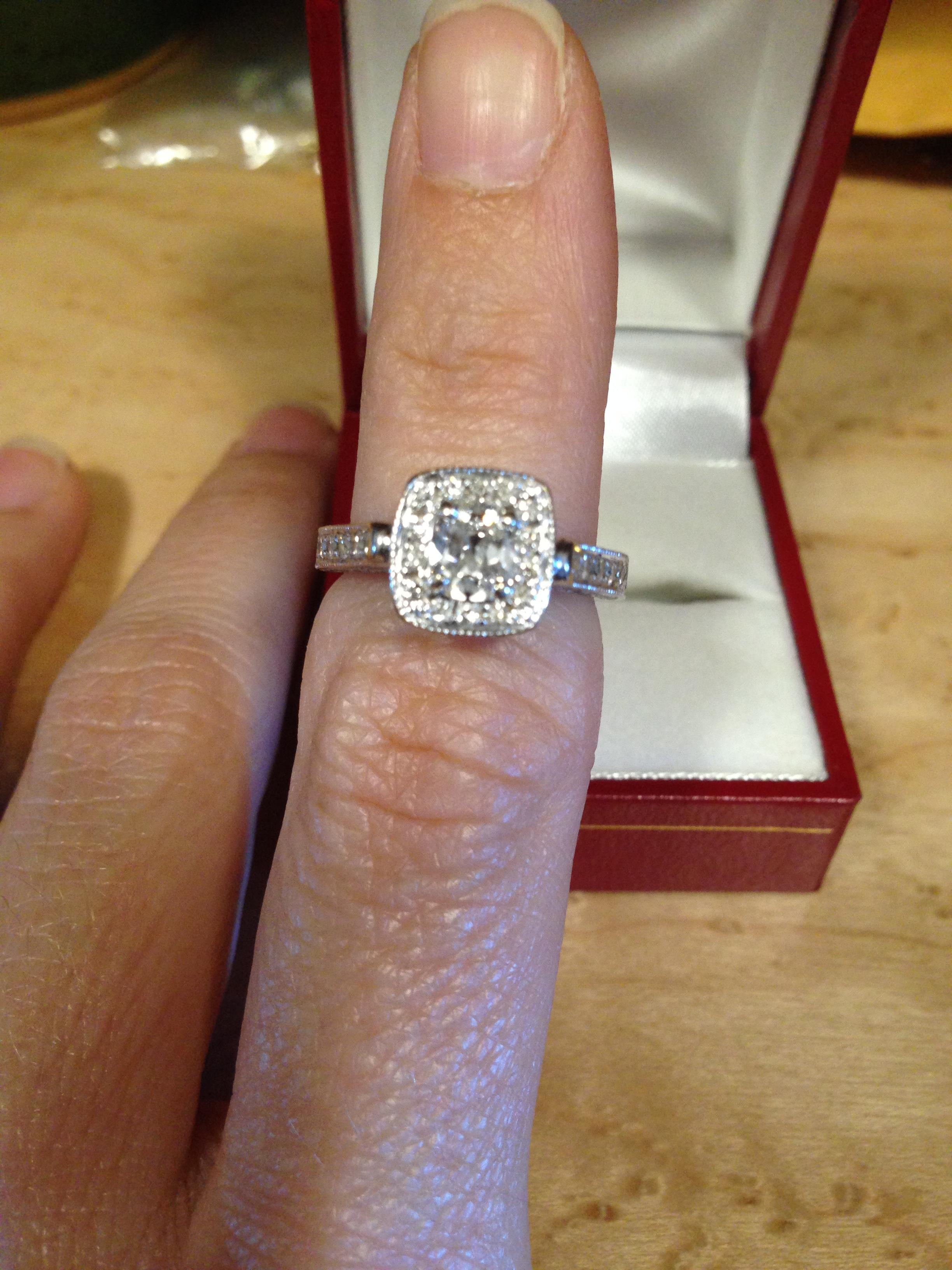 18k White Gold Cushion Cut Diamond Engagement Ring Tradesy