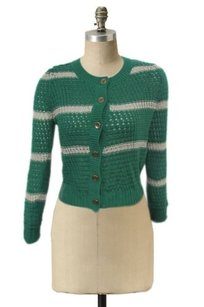 213 by Michelle Kim Industry Open Knit Cardigan Cream Striped Eyelet Var Sweater
