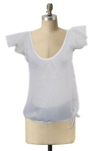 213 Industry Sheer Wrinkle Scoop Neck Mesh Sleeves Var Top White