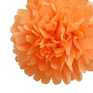 24 Orange Tissue Pom Poms Flower Kissing Balls Pomanders 14