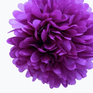 24 Plum Purple Tissue Pom Poms Flower Kissing Balls Pomanders 14