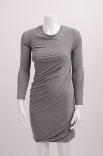 3.1 Phillip Lim Heather Long Sleeve Ruched Knit Body Con Shirt Drape Dress