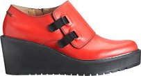 3.1 Phillip Lim Leather Wallace Platform Wedge Monk Strap Red Flats
