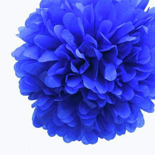 36 Royal Blue Tissue Pom Pom Flower Balls Kissing Balls Pomanders 14