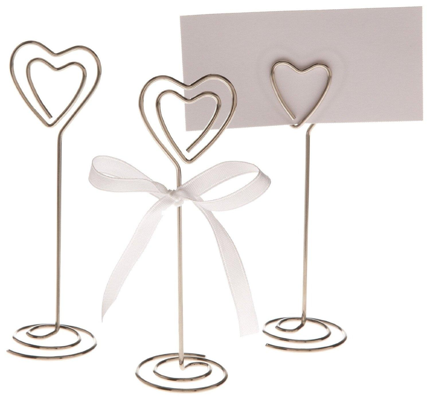 Awesome 50x Heart Shape Table Number Holder Place Card Holders Clips Stands ...