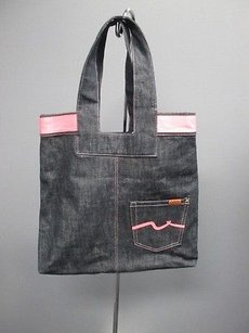 7 For All Mankind Dark Pink Accent Lined Coin Denim Sm4340 Tote in Blue