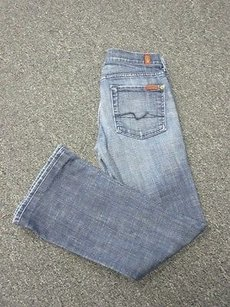 7 For All Mankind Blue Washed Boot Cut Jeans