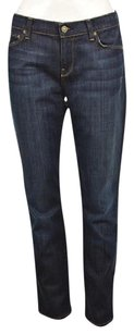 7 For All Mankind Womens Blue Cotton Dark Wash Pants Straight Leg Jeans