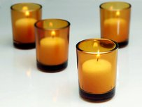 72 Amber Glass Votive Holders Yellow Orange