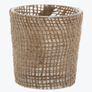96 New Burlap Votive Candle Holders Votives Rustic Vintage Style Wedding Jute Free Ship