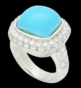 A&G by Amal Guessous Designer A G 18k White Gold Vs G-h Diamond Turquoise Cabochon Ring R498