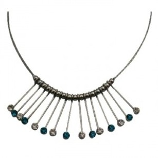 A Fabulous Elegant Fashion Necklace Blue Zircon Crystals Prom Necklace