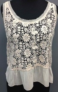 Abercrombie & Fitch And Polyester Crochet Sequin Ruffle Sm13986 Top Pink