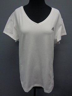 adidas Adidas White Polyester Blend Short Sleeve V Neck Athletic Top Sm14067
