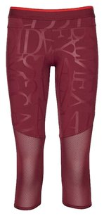 adidas By Stella McCartney Adidas Stella Mccartney Red Burgundy Mesh Panel Logo 34 Crop Athletic Legging