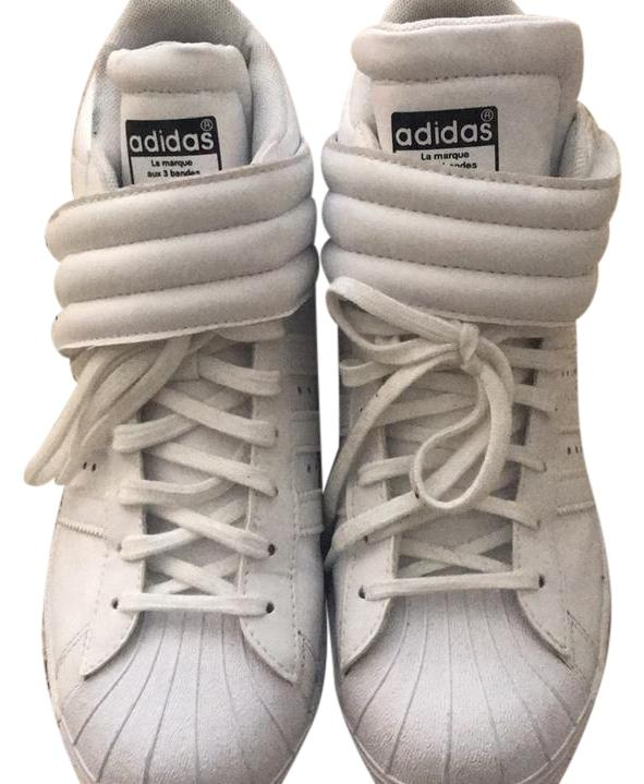 adidas White with Black Detail High Top Wedge Regular Sneaker Sneakers Size US 7 Regular Wedge (M, B) 7bc58f