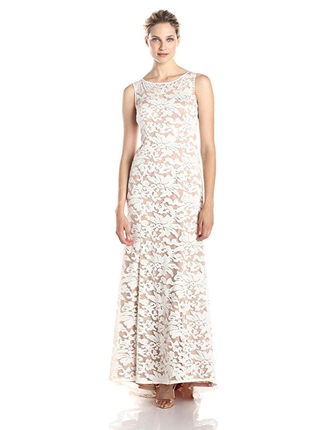 Adrianna Papell White Nude Sleeveless Embroidered Lace ...