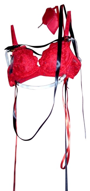 Other Agatha Couture Resurrection Bra Panty G String Burlesque Stage Stage Wear Showgirl Vegas Showgirl Lingerie And Panty red Halter Top