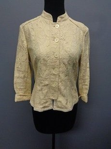 AK Anne Klein Ak Anne Klein Cream Cotton Blend Lined Button Front Lacie Jacket Sm10367