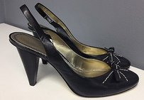 AK Anne Klein Leather White Stitch Accent Bow Top Slingbacks B3079 Black Pumps