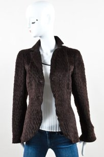 Akris Akris Brown Alpaca Wool Shaggy Long Sleeve Three Button Blazer Jacket