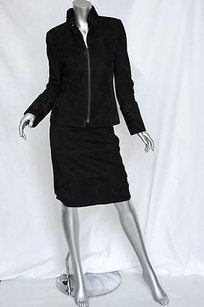 Akris Akris Classic Black Suede Leather Astrakhan Fur Jacket Skirt Suit Set