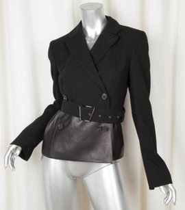 Akris Akris Womens Black Woolleather Long-sleeve Blazer Jacket 8fr