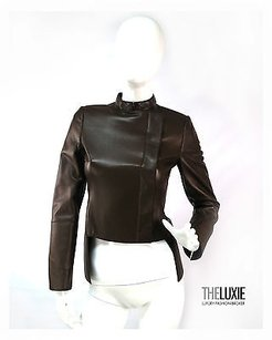Akris Leather Tailored Hem Super Chic Swiss Brown Jacket