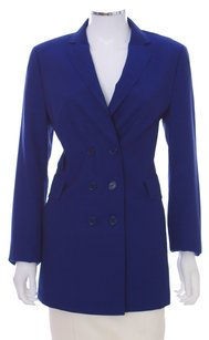 Akris Punto Wool Double Breasted Switzerland Viscose Longsleeve Blue Royal Blue Blazer