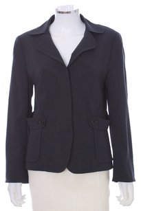 Akris Punto Wool Viscose Peter Pan Collar Tabbed Pockets Charcoal Blazer