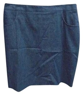 Akris Stretchy Pocket Back Zipper Lined Solid 4637a Skirt Blue