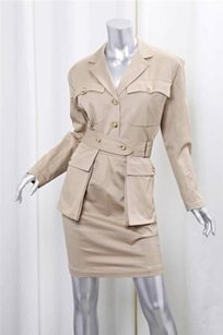 ALAÏA Alaia Beige Khaki Cotton Safari Skirt Suit Outfit Sz. 6-38