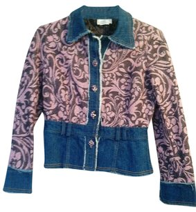 Alberto Makali blue denim with pink tapestry Womens Jean Jacket