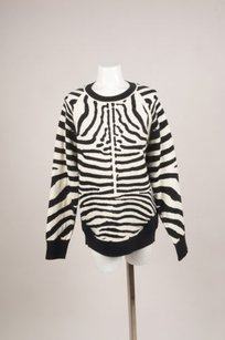 A.L.C. Black Cream Zebra Stripe Crew Sweater