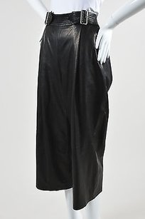 A.L.C. Leather Pleated Wide Shorts Black