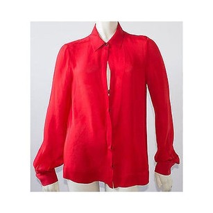 A.L.C. Alc 100 Silk Long Sleeve Top Red
